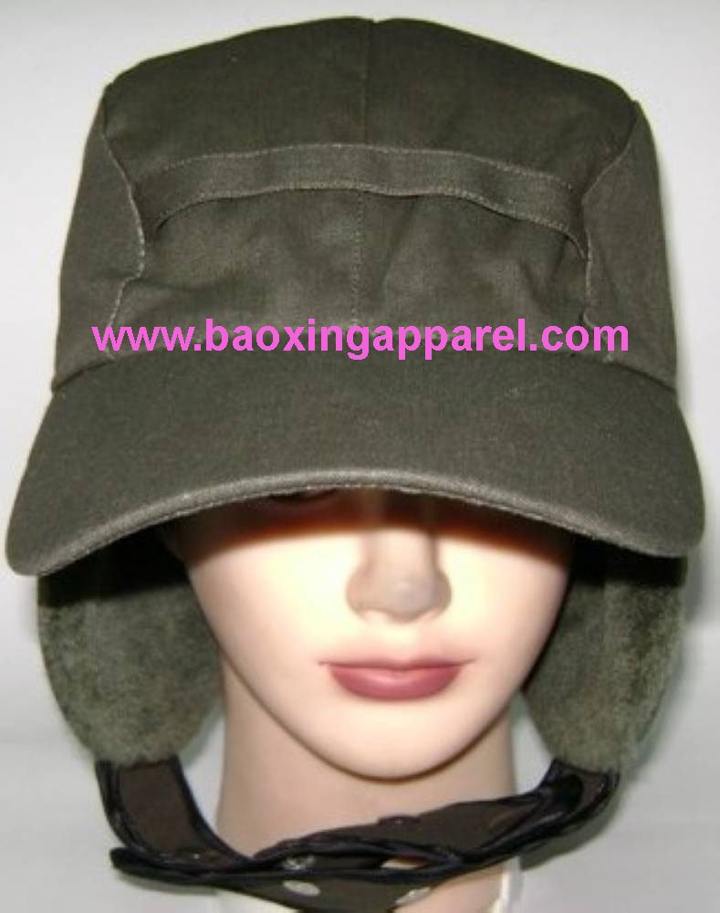 Trooper Bomber Hat with Quilted Lining and Fur Ear Flaps