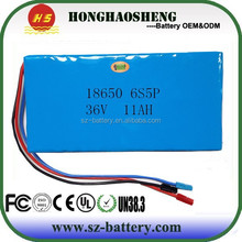 10S5P high quality rechargeable li-ion battery pack 36v 11ah for E-bike