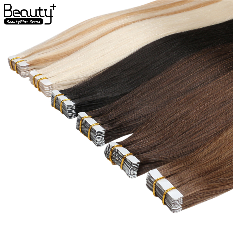 Wholesale Price 100% Human Hair Extension Blue White invisible Tape in Double Drawn Remy Tape Hair Extension