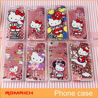 Bling quicksand Color liquid Cartoon plastic pc hard hello kitty Cases for iphone 6 plus