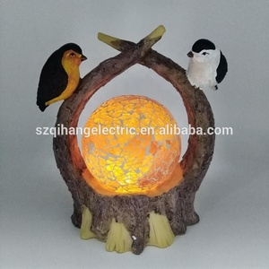 battery operated led polyresin bird craft with mosaic glass ball night light