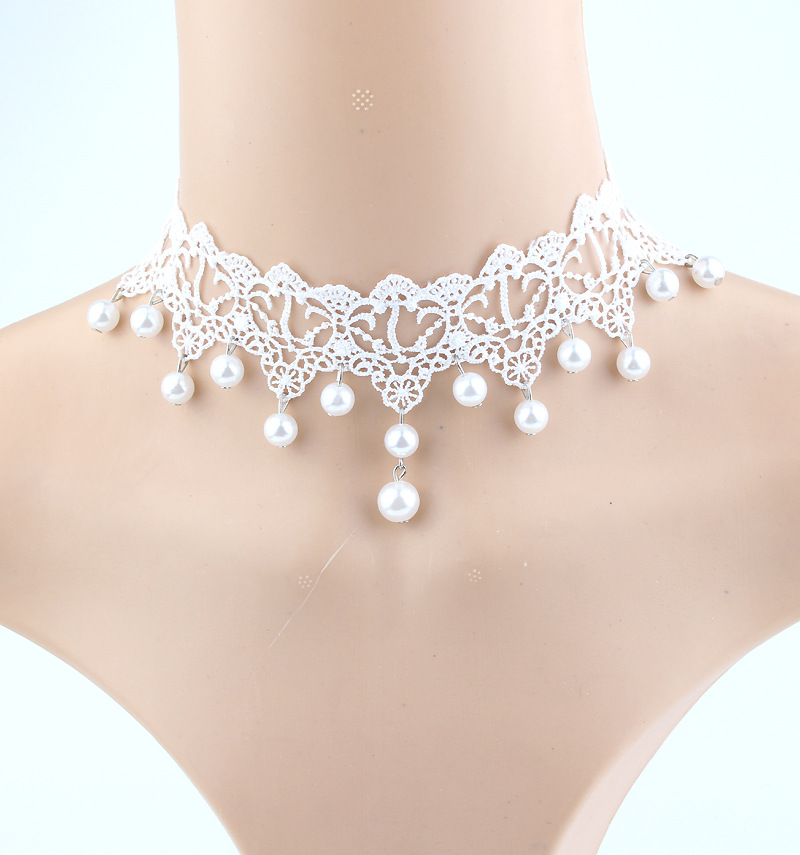 Bridal Wedding Pearl Beads Tassel White Fabric Braided Lace Princess Choker Necklaces