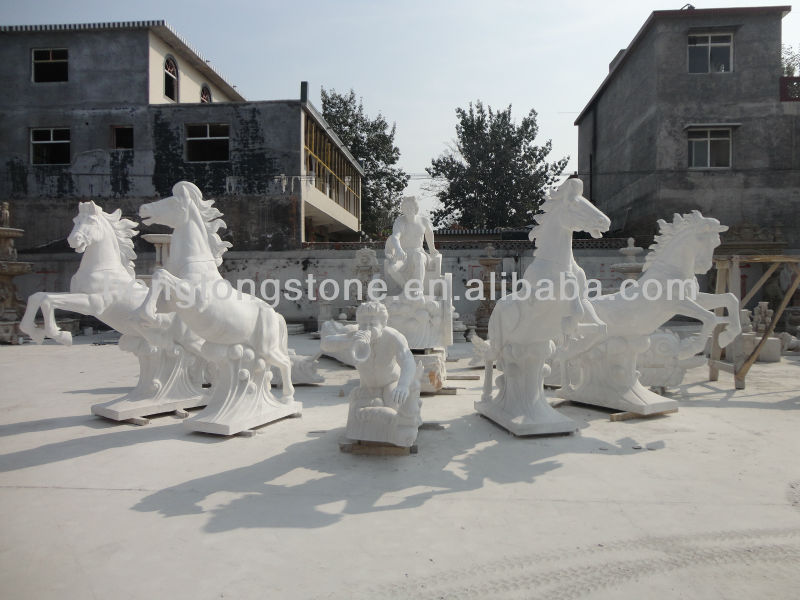 Large outdoor Marble Stone Apollo Design Fountain with Horses