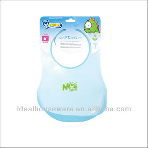 1PK SOFT PE BABY BIB WITH CRUMB CATCHER