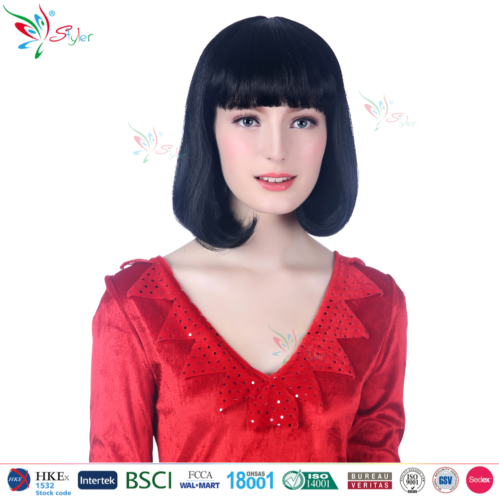 Styler Brand asian women hair wig synthetic wholesale cheap black bob wigs