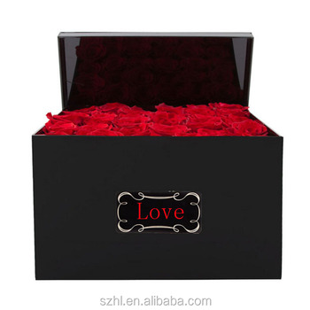 Custom black Acrylic square rose flower box