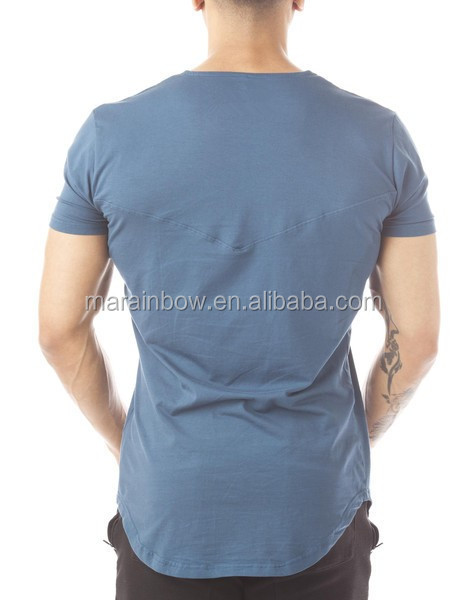 94% Cotton 6% Spandex Plain Mens Longline T Shirt with Curved Hem Stylish Short Sleeve V Neck Tee Slim Fit Gym T Shirt OEM