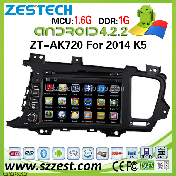 ZESTECH wholesale OEM pure Android car dvd player for kia optima/K5 2014 car android gps dvd with 3g wifi bluetooth radio