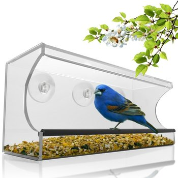 Acrylic Pet Feeding Case Acrylic Birds Feeder Case Large Window Bird Feeder