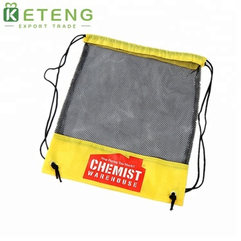 Polyester yellow cheap shopping mesh drawstring bag