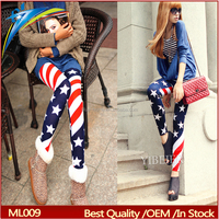 factory stretch fabric Flag printed leggings sexy tight women's pants