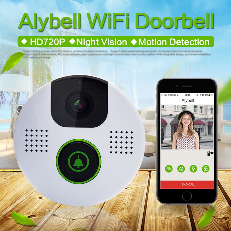 AlyBell Aly 803 Night Vision Onvif P2P WiFi Smartlink Self-powered No Battery Power Wireless Doorbell