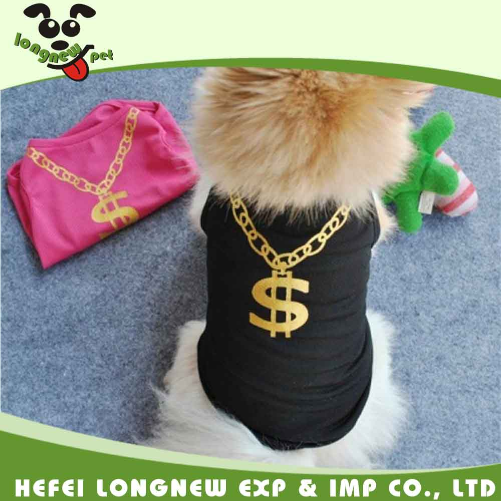 Amazon Hot Sale Cute Dollar Necklace Small Dog T Shirts Pet Mesh Clothes