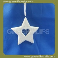 Star with heart shape christmas hanging ornament