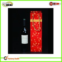 luxury custom single/double red wine bottle paper bags with handle