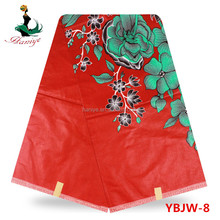 Haniye YBJW-08 red african wax prints fabric new design wax java garment material with red flowers