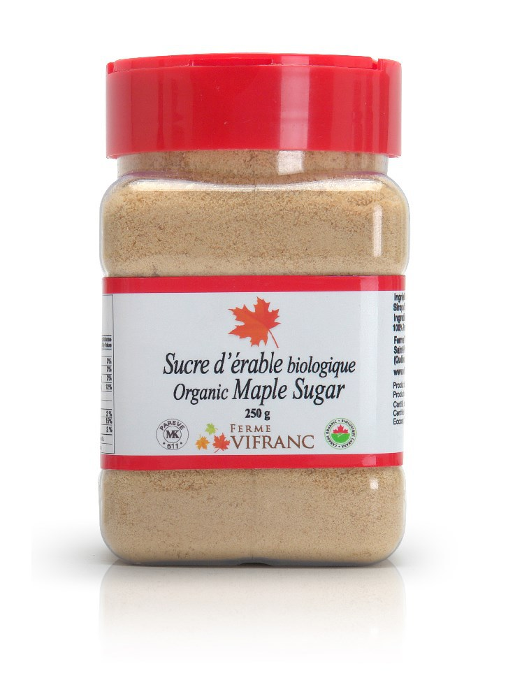 Organic Maple Sugar, plastic container, 250g