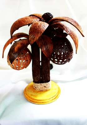 Thai Coconut Shell Tree Lamp Handmade