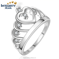 Real Italina style crown shaped silver plated bling heart love women wedding ring