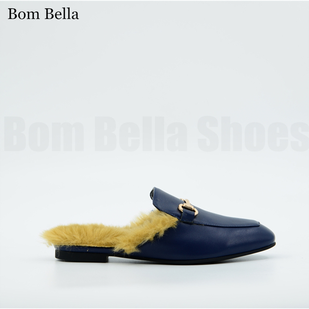 BBLA593 2017 New fashion women flat leather <strong>slippers</strong> men