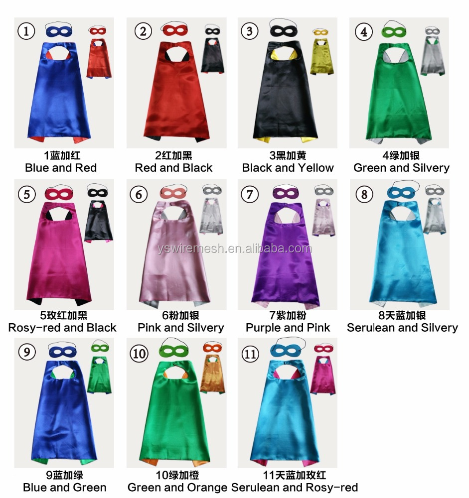 Party Day Heroes Double Sides Capes Reversible Dual Color for Kids Dress-Up Gift