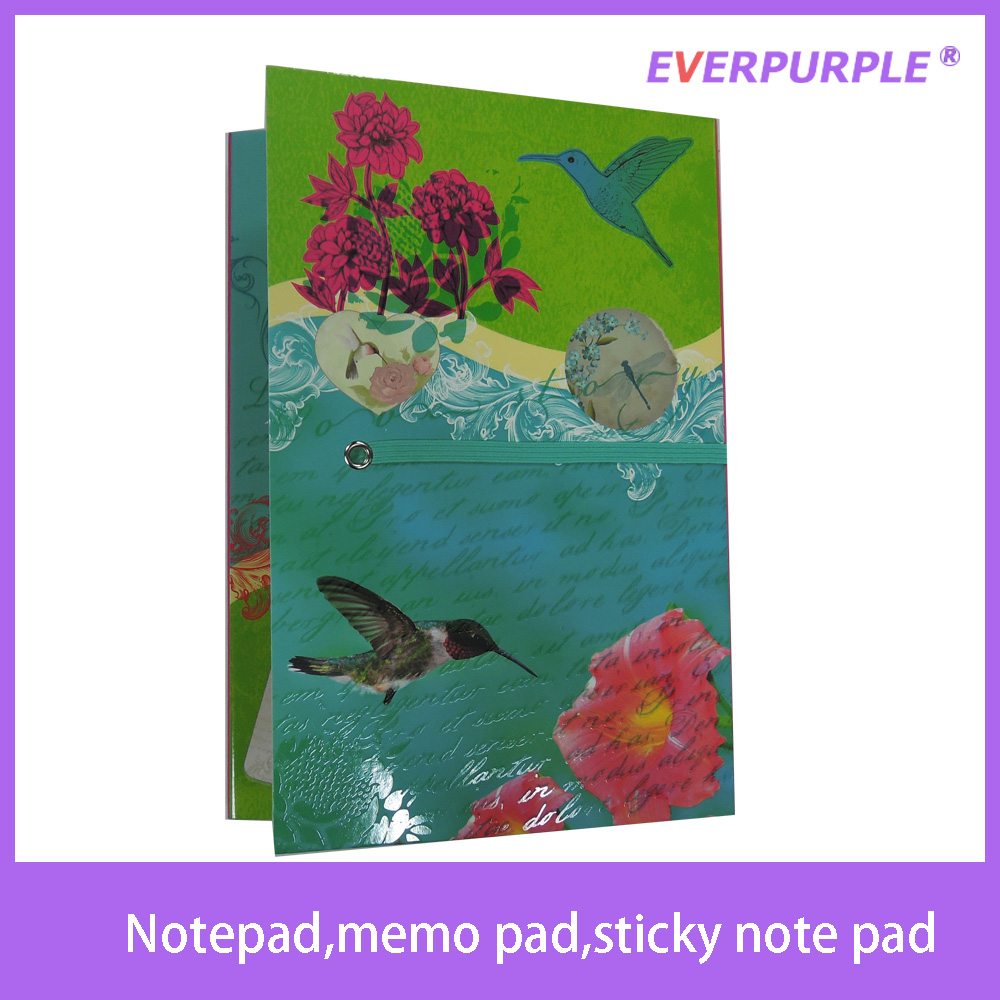 2015 high quality new design cute printing notepad,sticky note pad,memo pad with pen for school
