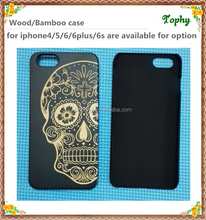 Black bamboo wood phone case for iphone 6/Custom skull head logo cell phone accessory for iphone 6 PC wood mobile phone case