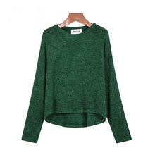 Pullover Knitting Brand Clothing women Tops Green Long Sleeve Loose Knit Wear Sweaters