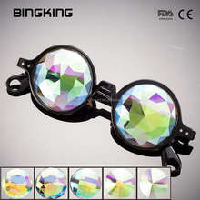 Black round frame rainbow diamond flat back lens diffraction kaleidoscope glasses