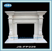 Beige marble fireplace with flower relief carving