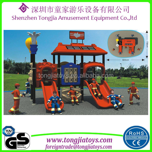 2016 new design outdoor playground playing fire sation theme