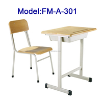 FM-A-301 cheap school furniture Wooden student desk and chair