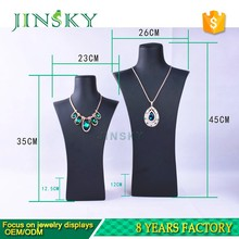 2017 Wholesale customized black pu leather jewelry display bust stand for long necklace