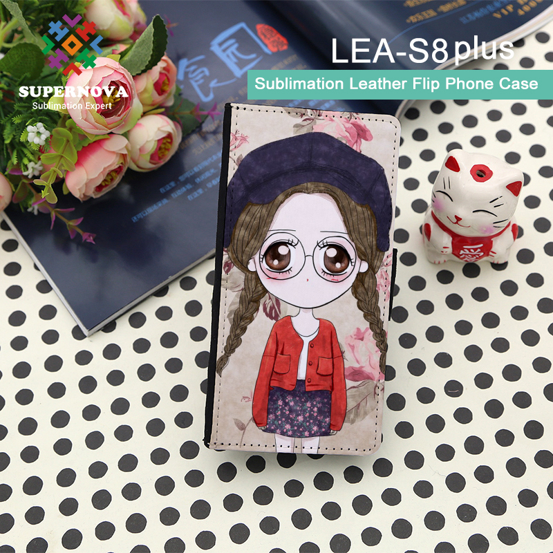 High Quality Sublimation Blank PU Leather Phone Case, Printable Leather Wallet Phone Case for S8 Plus