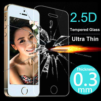 Ultra Thin 0.3mm 2.5D Premium Tempered Glass Screen Protector For iPhone 5 5S 5c