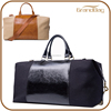 High Quality Capacity Genuine Smooth Leather Mix Canvas Handbag Traveling Bag Duffle Bags with long strap for men and women