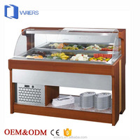 Refrigerated serve over/ chiller display counter/ salad bar deli fridge for restaurant