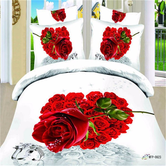 Red Rose Theme Duvet Cover Set Bedding Set King Size Queen Size Double Size