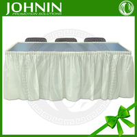 hot sale wedding decor cheap 100%polyester Fabric steps in table skirting