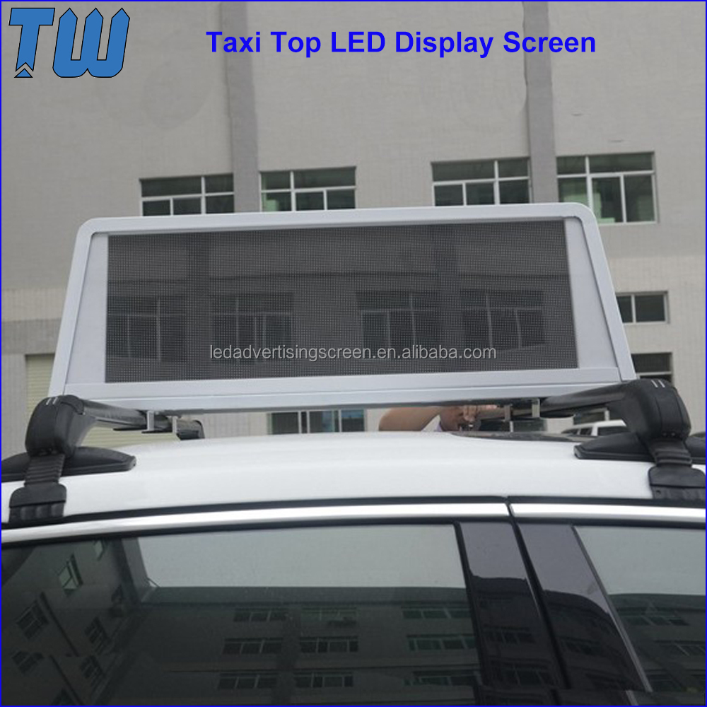 Car Top LED Display Screen IP65 Solid Structure 24 Hours Advertising Around the City