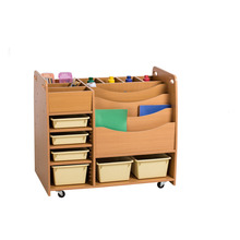 Well Designed nursery school wooden children library furniture help your self trolly