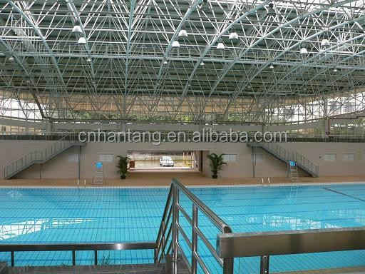 large span swimming pool steel space frame system/peb building
