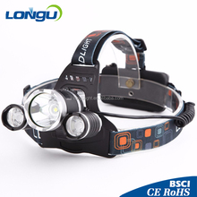3T6 5000LM Boruit RJ-3001 3x XM-L T6 LED USB Headlight 5-8000 Lumen Head Lamp Flashlight Torch Lanterna Headlamp+Battery/Charger