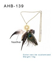 nice looking beautiful fashion fateher necklace bule eyes peacock necklace