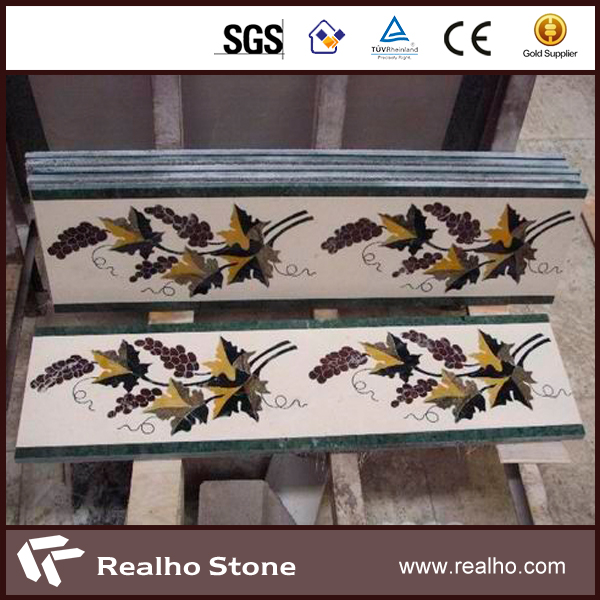 Nature Stone Waterjet Border Decoration Marble For Hall Flooring Tile