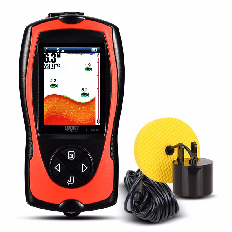 Lucky portable fishing accessories transducer hot sale fish finder sonar for outdoor sport FFW1108-1