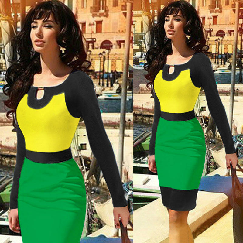 C81111A Hit color stitching Slim was thin long-sleeved dress