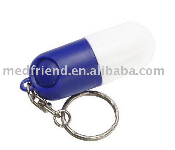 Capsule Shaped Pill Box With Key Chain