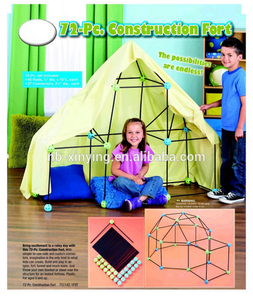 Hot Selling Indoor Construction play Fort for Kids 72pc Build & Play