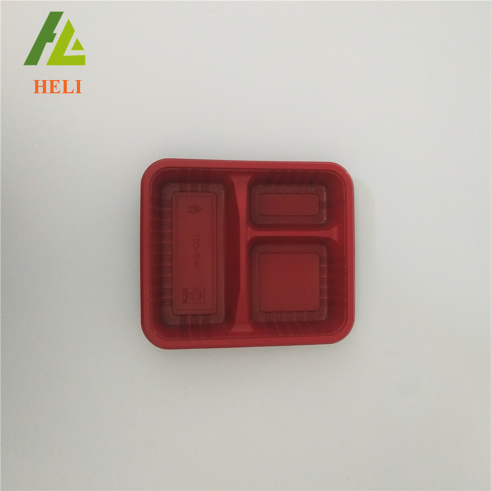 Bio 3 compartments PP plastic food compartment containers